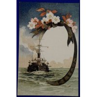 1900's Japanese Navy Postcard Commemorative for Launch of Battleship Kashima