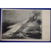 "1900's Russo Japanese War Navy Postcard ""Japanese torpedo-boats attacking Russian fleet at Port Arthur"""