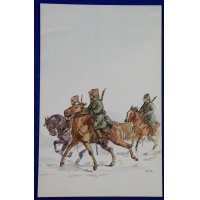 1930's Second Sino-Japanese War Postcard : Cavalry Art