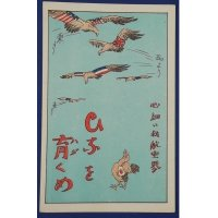 "Late 1920's Japanese Postcard : National Aviation Capability Improvement ""Grow our little birds"""