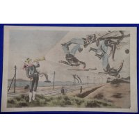 1900's Russo Japanese War Caricature Art Postcard (Japanese bugler soldiers blowing away Russian soldiers)