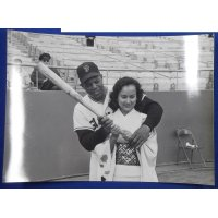 "1960's Baseball Photo Card :  Willie Mays teaching batting to a Japanese tourism journalist "" Kanetaka Kaoru"" during visit of San Francisco Giants to Japan"