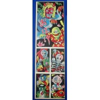 1960's Folklore Ghosts Japanese Menko Cards Uncut Sheet / obake yokai monsters yurei skeleton