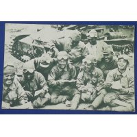 1930's Japanese Postcard : Tank Soldiers Smiling & Happy about Letters from the Homeland