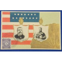 1908 Japanese Postcard Commemorative for the visit of the American Fleet (Great White Fleet) / US Flag , Imperial Seal & Portraits of Theodore Roosevelt & the Emperor Meiji