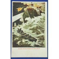 "1900's Russo Japanese War Postcard ""Japanese sinking fireship at Port Arthur"" (Port Arthur Blockade Operation)"