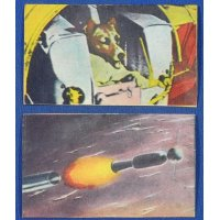 1950's Space Dog Laika Japanese Menko Cards / sputnik soviet