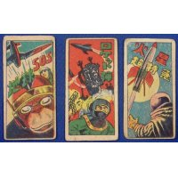 1950's Space & Military Art Japanese Menko Cards / Rocket , Spaceman Alien