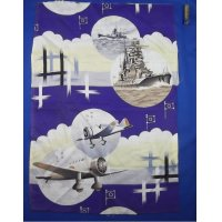 1940's Vintage Fabric with Navy Art
