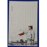 1930's Navy Postcard Sailor Signaling