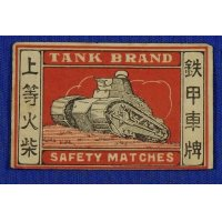 1930's Matchbox Label Tank Art