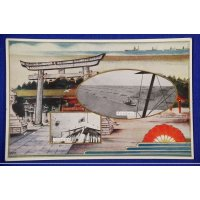 1930 Japanese Postcard Imperial Navy Review & Shinto Shrine Photo