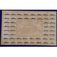 1900's Japanese Postcard commemorative for the Imperial Navy Review ( Fleet Formation )