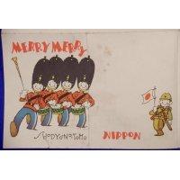 "1930's Japanese Christmas Greeting Letter Sheet with Art of British Guards & Japanese Army Soldier saying ""Japan Banzai"" by Katsuji Matsumoto"