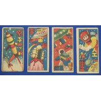 1950's Space , Spaceship , Rocket Art Japanese Menko Cards vintage toys