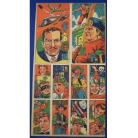 1950's US Movies and else : Japanese Menko Card Uncut Sheet ( Pirate Invisible Man Branded )