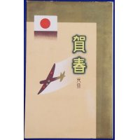 1930's New Year Greeting Postcards Aircraft & Flag Modern Art