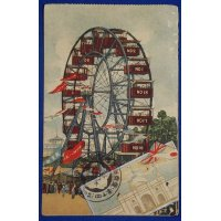 "1907 Japanese Postcard : Ferris Wheel at the site of ""Tokyo Industrial Exposition"""