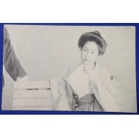 1900's Japanese Postcard : Photo of A Woman in Summer Kimono Yukata Sitting on the Bench