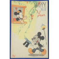 Late 1940's (postwar) Japanese New Year Greeting Postcard : Mickey Mouse & Minnie Mouse