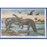 "1930's Japanese Postcards : Dinosaurs Art "" Extinct Animals """