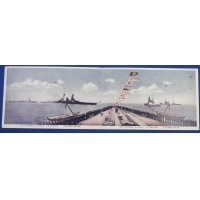 """1920's Japanese Navy Panoramic Postcard """"Battleship HARUNA / Navy Review Commemorative for the Emperor's Enthronement"""""""