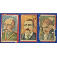 1900's Japanese Military & Historical Persons : Japanese Menko Cards Otto von Bismarck / Theodore Roosevelt / Admiral Horatio Nelson