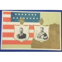 1900's Japanese Postcard Commemorative for the Visit of the American Fleet (Great White Fleet) / Portraits of Theodore Roosevelt & the Emperor Meiji / US Flag & Japanese Imperial Seal
