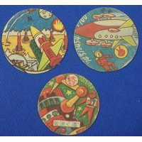 1950's Space & Military Art Japanese Menko Cards / space ship rocket