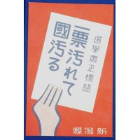 """1930's Japanese Postcard : Poster Art for Election of the Diet Members """"One vote gets corrupt, then the whole nation gets corrupt"""" (electoral district of Niigata Prefecture)"""