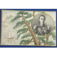 1930's Japanese Postcards Commemorative for the visit of the Emperor of Manchukuo ( Puyi ) / published by Manchukuo Traffic Dept. / Photos of Battleship Hiei & Akasaka Palace
