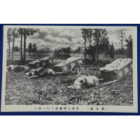 "1910's Japanese Army Photo Postcard ""Military dogs for towing ammunition cart sit down"" / War animal"