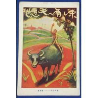 "1920's Japanese Postcard Advertising Taiwan Tourism ""Advertising Poster Postcard for Taiwan / Come to the South (Taiwan) , The blessing land.""/ exhibited at The Tokyo Peace Memorial Exposition (for the end of WW1) , the Taiwan Pavilion / published by The Office of The Governor-General of Taiwan / Art of farmer , cow ( water buffalo ) & local fruit"