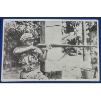 "1930's Second Sino Japanese War Army Photo Postcard "" Chinese girl troops shooting """