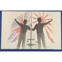 """1900's Japanese Postcard British & Japanese Navy Sailors in front of the Flags showing """"Anglo-Japanese Alliance"""""""
