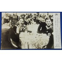 "1943 Japanese Navy News Photo Card : The interaction between Japanese submarine crews & German Navy sailors in Germany "" Our submarine , over the rolling seas, suddenly showed its brave figure at the German submarine base in the Atlantic Ocean , which shook the Allies. A precious photographic record of  the interaction between gallant warriors of Japan & Germany. """