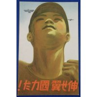 "1930's Japanese Postcard : National Aviation Capability Improvement Slogan ""Extend the wings. It's national power ! "" /published by The Imperial Aviation Association / Art of Airplanes & Boy looking up at the sky"